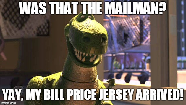 Billy Price Short Arms | WAS THAT THE MAILMAN? YAY, MY BILL PRICE JERSEY ARRIVED! | image tagged in price,bengals | made w/ Imgflip meme maker