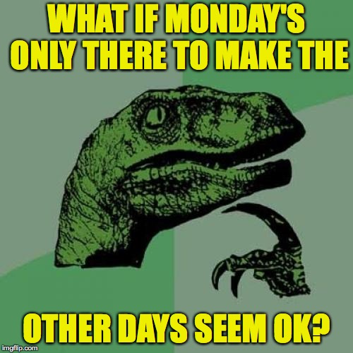 Philosoraptor Meme | WHAT IF MONDAY'S ONLY THERE TO MAKE THE OTHER DAYS SEEM OK? | image tagged in memes,philosoraptor,monday | made w/ Imgflip meme maker