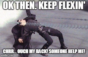 neo dodging a bullet matrix | OK THEN. KEEP FLEXIN' CHRR... OUCH MY BACK! SOMEONE HELP ME! | image tagged in neo dodging a bullet matrix | made w/ Imgflip meme maker