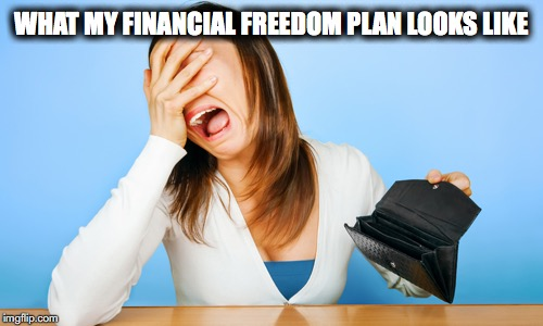 Woman Crying Empty Wallet | WHAT MY FINANCIAL FREEDOM PLAN LOOKS LIKE | image tagged in woman crying empty wallet | made w/ Imgflip meme maker