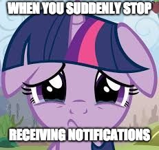 I feel lonely now! | WHEN YOU SUDDENLY STOP RECEIVING NOTIFICATIONS | image tagged in sad twilight,memes,notifications,xanderbrony,ponies | made w/ Imgflip meme maker