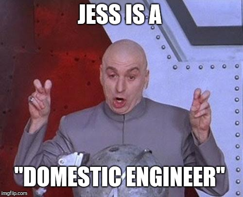 "Dr Evil Laser Meme | JESS IS A ""DOMESTIC ENGINEER"" 