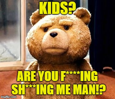 TED Meme | KIDS? ARE YOU F****ING SH***ING ME MAN!? | image tagged in memes,ted | made w/ Imgflip meme maker