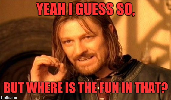 One Does Not Simply Meme | YEAH I GUESS SO, BUT WHERE IS THE FUN IN THAT? | image tagged in memes,one does not simply | made w/ Imgflip meme maker