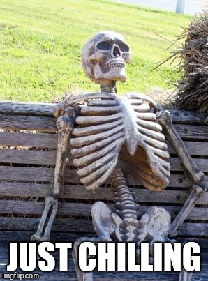 Waiting Skeleton Meme | JUST CHILLING | image tagged in memes,waiting skeleton | made w/ Imgflip meme maker