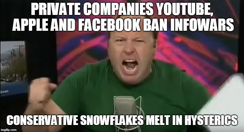 Alex Jones | PRIVATE COMPANIES YOUTUBE, APPLE AND FACEBOOK BAN INFOWARS CONSERVATIVE SNOWFLAKES MELT IN HYSTERICS | image tagged in alex jones | made w/ Imgflip meme maker