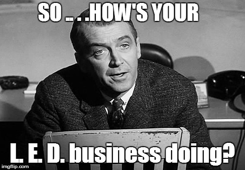 SO .. . .HOW'S YOUR L. E. D. business doing? | made w/ Imgflip meme maker