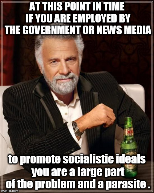 interesting man states socialism promoted be news media and government employees is un-american  | AT THIS POINT IN TIME IF YOU ARE EMPLOYED BY THE GOVERNMENT OR NEWS MEDIA to promote socialistic ideals you are a large part of the problem  | image tagged in memes,the most interesting man in the world,government parasites,lying media | made w/ Imgflip meme maker