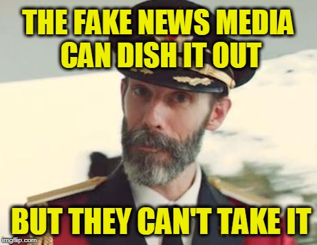 Captain Obvious | THE FAKE NEWS MEDIA CAN DISH IT OUT BUT THEY CAN'T TAKE IT | image tagged in captain obvious | made w/ Imgflip meme maker