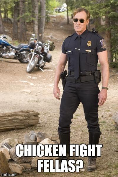 gay cop | CHICKEN FIGHT FELLAS? | image tagged in gay cop | made w/ Imgflip meme maker