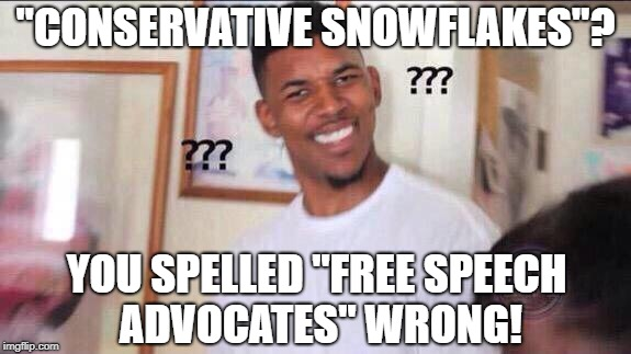 "Black guy confused | ""CONSERVATIVE SNOWFLAKES""? YOU SPELLED ""FREE SPEECH ADVOCATES"" WRONG! 