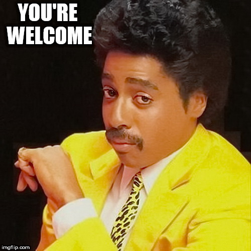 Morris Day | YOU'RE WELCOME | image tagged in you're welcome | made w/ Imgflip meme maker