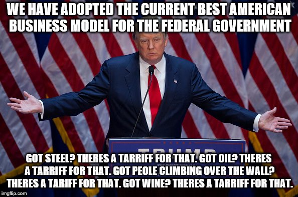 Just Like Apple | WE HAVE ADOPTED THE CURRENT BEST AMERICAN BUSINESS MODEL FOR THE FEDERAL GOVERNMENT GOT STEEL? THERES A TARRIFF FOR THAT. GOT OIL? THERES A  | image tagged in donald trump,memes,funny,tariffs,apple | made w/ Imgflip meme maker