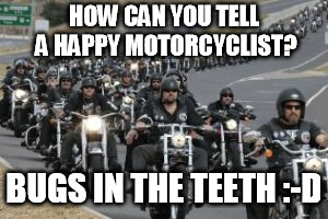 bikers | HOW CAN YOU TELL A HAPPY MOTORCYCLIST? BUGS IN THE TEETH :-D | image tagged in bikers | made w/ Imgflip meme maker