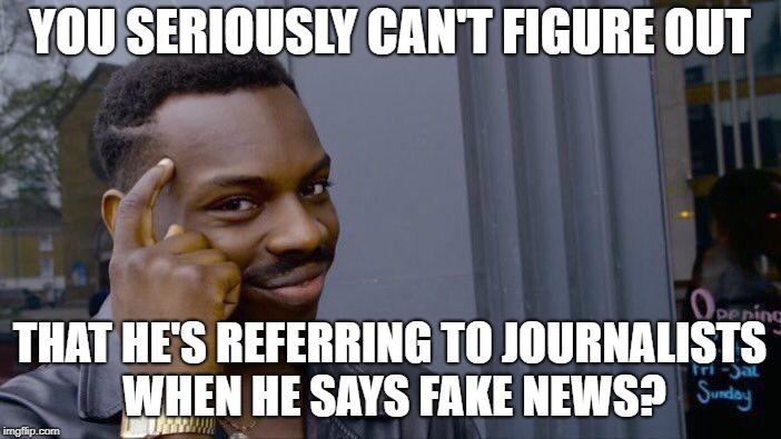 Roll Safe Think About It Meme | YOU SERIOUSLY CAN'T FIGURE OUT THAT HE'S REFERRING TO JOURNALISTS WHEN HE SAYS FAKE NEWS? | image tagged in memes,roll safe think about it | made w/ Imgflip meme maker