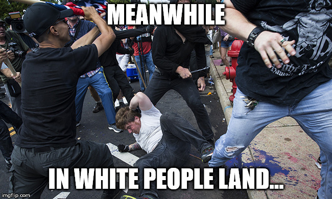 charlottesville riot | MEANWHILE IN WHITE PEOPLE LAND... | image tagged in charlottesville riot | made w/ Imgflip meme maker