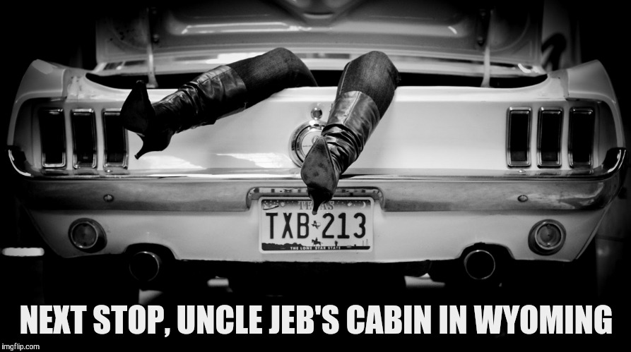 The Hooker in the Trunk of My Car | NEXT STOP, UNCLE JEB'S CABIN IN WYOMING | image tagged in the hooker in the trunk of my car | made w/ Imgflip meme maker