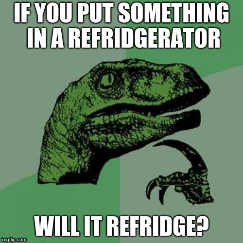 Philosoraptor Meme | IF YOU PUT SOMETHING IN A REFRIDGERATOR WILL IT REFRIDGE? | image tagged in memes,philosoraptor | made w/ Imgflip meme maker
