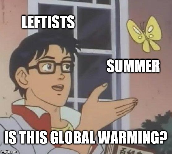 Summer Warmth | LEFTISTS SUMMER IS THIS GLOBAL WARMING? | image tagged in leftist,global warming,summer | made w/ Imgflip meme maker