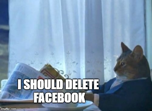 I Should Buy A Boat Cat Meme | I SHOULD DELETE FACEBOOK | image tagged in memes,i should buy a boat cat,addiction,meme addict,facebook,and the points don't matter | made w/ Imgflip meme maker