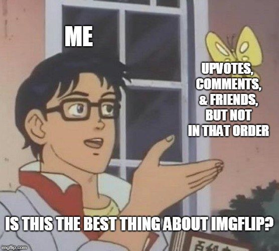Best part of Imgflip? | ME UPVOTES, COMMENTS, & FRIENDS, BUT NOT IN THAT ORDER IS THIS THE BEST THING ABOUT IMGFLIP? | image tagged in memes,is this a pigeon,upvotes,comments,friends | made w/ Imgflip meme maker