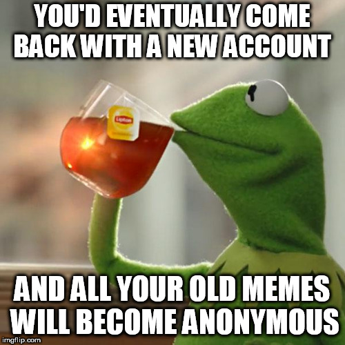 But Thats None Of My Business Meme | YOU'D EVENTUALLY COME BACK WITH A NEW ACCOUNT AND ALL YOUR OLD MEMES WILL BECOME ANONYMOUS | image tagged in memes,but thats none of my business,kermit the frog | made w/ Imgflip meme maker