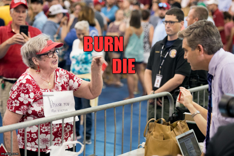 CNN's April Ryan: Jim Acosta's life was in jeopardy at Trump Rally | BURN DIE | image tagged in memes,funny,jim acosta,trump rally,cnn fake news,acosta | made w/ Imgflip meme maker