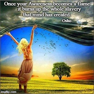 Once your Awareness becomes a flame it burns up the whole slavery that mind has created. -Osho- | image tagged in awareness inner flame mind slavery | made w/ Imgflip meme maker