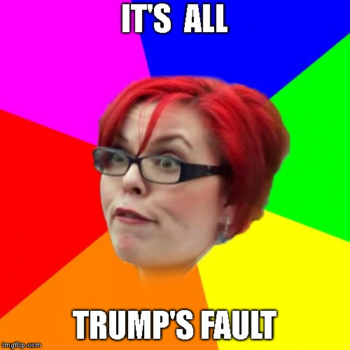 angry feminist | IT'S  ALL TRUMP'S FAULT | image tagged in angry feminist | made w/ Imgflip meme maker