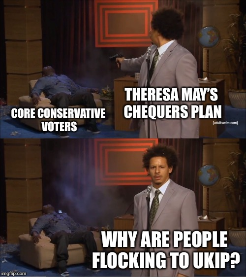Who Killed Hannibal Meme | THERESA MAY'S CHEQUERS PLAN CORE CONSERVATIVE VOTERS WHY ARE PEOPLE FLOCKING TO UKIP? | image tagged in memes,who killed hannibal | made w/ Imgflip meme maker