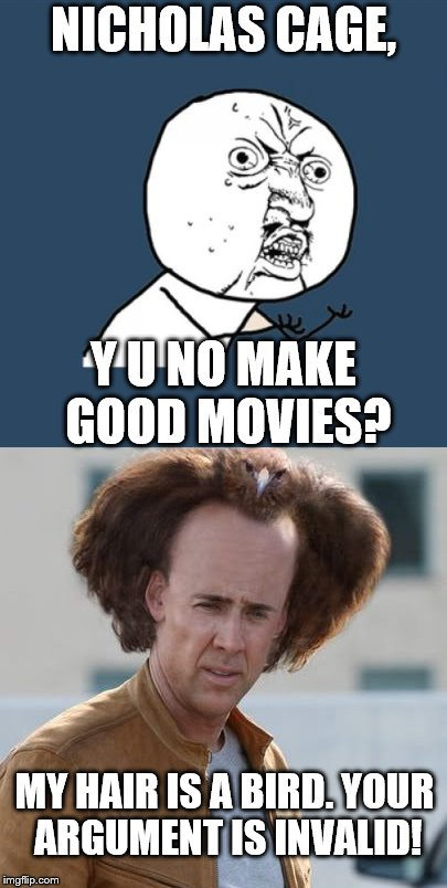 NICHOLAS CAGE, MY HAIR IS A BIRD. YOUR ARGUMENT IS INVALID! Y U NO MAKE GOOD MOVIES? | image tagged in memes,y u no | made w/ Imgflip meme maker