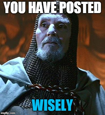 You have chosen... wisely | YOU HAVE POSTED WISELY | image tagged in you have chosen wisely | made w/ Imgflip meme maker