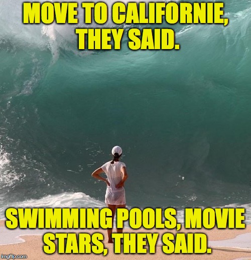 The tsunami risk is simply too great. | MOVE TO CALIFORNIE, THEY SAID. SWIMMING POOLS, MOVIE STARS, THEY SAID. | image tagged in memes,tsunami,beverly hillbillies | made w/ Imgflip meme maker