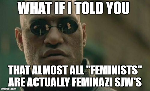 "Matrix Morpheus Meme | WHAT IF I TOLD YOU THAT ALMOST ALL ""FEMINISTS"" ARE ACTUALLY FEMINAZI SJW'S 