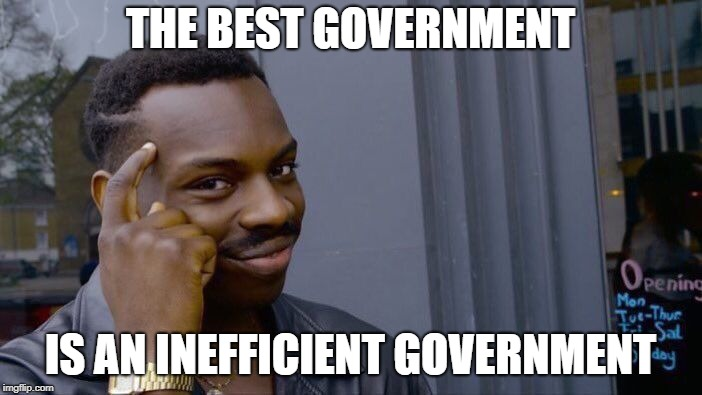 Roll Safe Think About It Meme | THE BEST GOVERNMENT IS AN INEFFICIENT GOVERNMENT | image tagged in memes,roll safe think about it | made w/ Imgflip meme maker