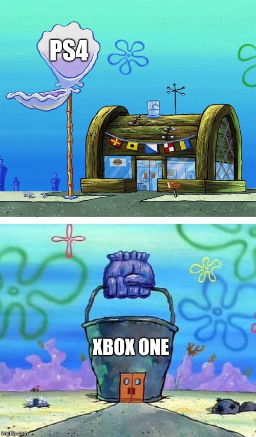 PS4 XBOX ONE | image tagged in kk vs cb meme template | made w/ Imgflip meme maker
