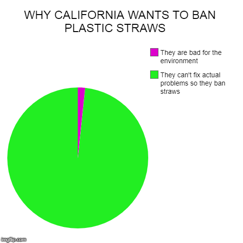 WHY CALIFORNIA WANTS TO BAN PLASTIC STRAWS    | They can't fix actual problems so they ban straws, They are bad for the environment | image tagged in funny,pie charts | made w/ Imgflip pie chart maker