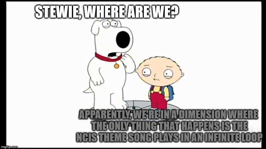 STEWIE, WHERE ARE WE? APPARENTLY, WE'RE IN A DIMENSION WHERE THE ONLY THING THAT HAPPENS IS THE NCIS THEME SONG PLAYS IN AN INFINITE LOOP | image tagged in stewie griffin,brian griffin | made w/ Imgflip meme maker