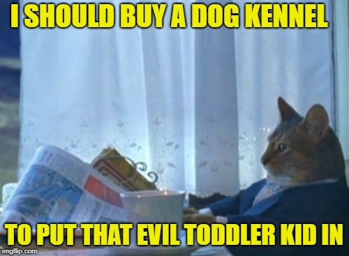 I Should Buy A Boat Cat Meme | I SHOULD BUY A DOG KENNEL TO PUT THAT EVIL TODDLER KID IN | image tagged in memes,i should buy a boat cat | made w/ Imgflip meme maker