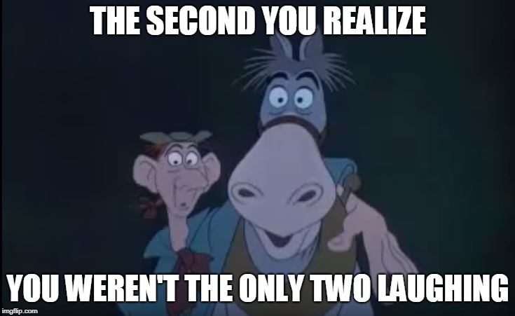 Sleepy Hollow Meme | THE SECOND YOU REALIZE YOU WEREN'T THE ONLY TWO LAUGHING | image tagged in disney,scary,headless horseman,memes | made w/ Imgflip meme maker