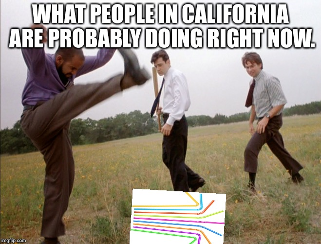 It's Not Just Smashing Printers Anymore... | WHAT PEOPLE IN CALIFORNIA ARE PROBABLY DOING RIGHT NOW. | image tagged in office space printer smash,office space,california,straws,plastic straws,straw ban | made w/ Imgflip meme maker