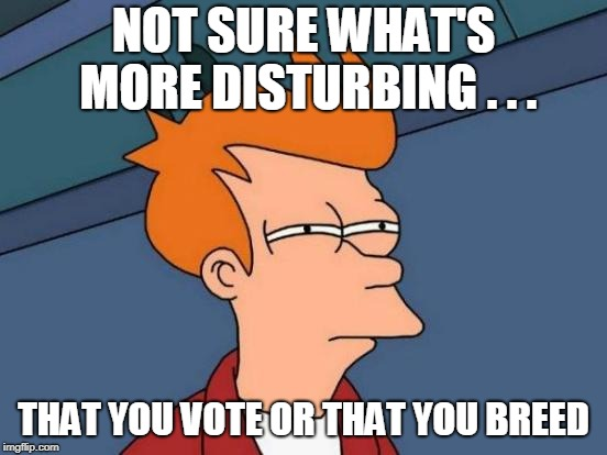 Futurama Fry Meme | NOT SURE WHAT'S MORE DISTURBING . . . THAT YOU VOTE OR THAT YOU BREED | image tagged in memes,futurama fry | made w/ Imgflip meme maker
