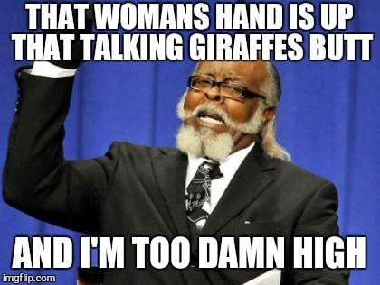 Too Damn High Meme | THAT WOMANS HAND IS UP THAT TALKING GIRAFFES BUTT AND I'M TOO DAMN HIGH | image tagged in memes,too damn high | made w/ Imgflip meme maker