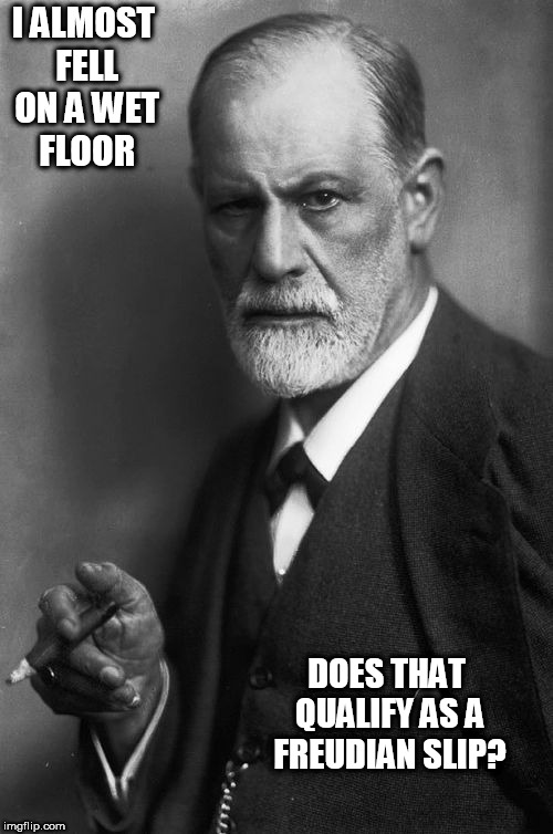 Sigmund Freud Meme | I ALMOST FELL ON A WET FLOOR DOES THAT QUALIFY AS A FREUDIAN SLIP? | image tagged in memes,sigmund freud | made w/ Imgflip meme maker