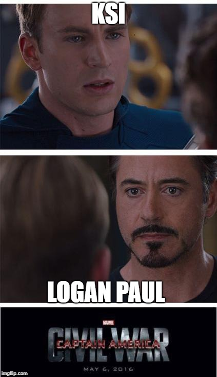 Marvel Civil War 1 Meme | KSI LOGAN PAUL | image tagged in memes,marvel civil war 1 | made w/ Imgflip meme maker