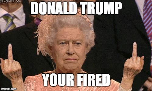 Queen Elizabeth Flipping The Bird | DONALD TRUMP YOUR FIRED | image tagged in queen elizabeth flipping the bird | made w/ Imgflip meme maker