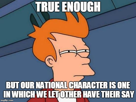 Futurama Fry Meme | TRUE ENOUGH BUT OUR NATIONAL CHARACTER IS ONE IN WHICH WE LET OTHER HAVE THEIR SAY | image tagged in memes,futurama fry | made w/ Imgflip meme maker