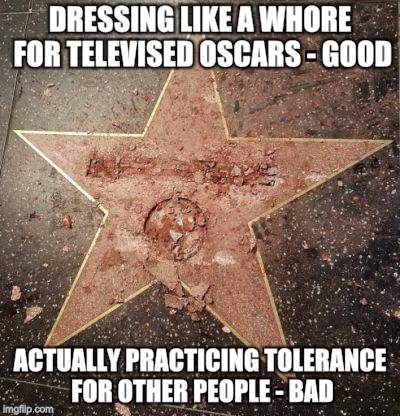 Welcome to Hollywood-No Non-Freaks Allowed | DRESSING LIKE A W**RE FOR TELEVISED OSCARS - GOOD ACTUALLY PRACTICING TOLERANCE FOR OTHER PEOPLE - BAD | image tagged in funny memes,hollywood,donald trump | made w/ Imgflip meme maker