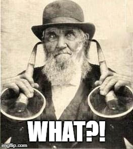 WHAT?! | image tagged in old man with ear trumpets | made w/ Imgflip meme maker