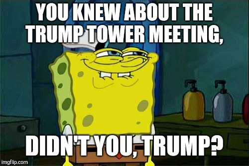 Didn't you, Trump? | YOU KNEW ABOUT THE TRUMP TOWER MEETING, DIDN'T YOU, TRUMP? | image tagged in memes,dont you squidward,trump russia collusion,donald trump,donald trump jr,trump tweeting | made w/ Imgflip meme maker